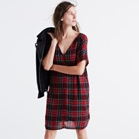 Madewell Zip Front Dress In Tartan Plaid Red Sangria
