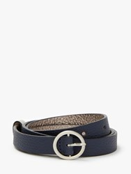 Boden Classic Skinny Leather Belt Navy Silver
