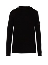 Stone Island Shadow Project Ribbed Knit Cotton Hooded Sweater Black