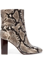 Tory Burch Devon Snake Effect Leather Ankle Boots Black