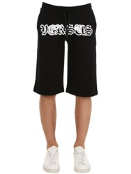 Versus By Versace Logo Print Cotton Jersey Shorts Black