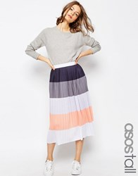 Asos Tall Pleated Midi Skirt In Colour Block Multi