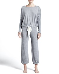 Eberjey Slouchy Drawstring Pants Gray Heather