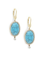 Meira T Oval Turquoise And Diamond Drop Earrings White Gold