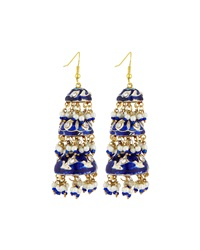Chamak By Priya Kakkar Tier Drop Earrings Blue Multi