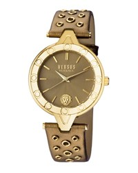Versus By Versace 34Mm V Eyelet Watch W Leather Strap Brown Metallic