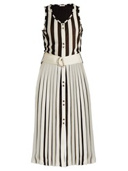 Nina Ricci Striped Knit Sleeveless Dress White Black