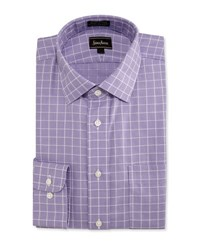 Neiman Marcus Classic Fit Non Iron Grid Dress Shirt Purple