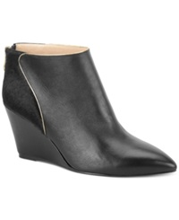 Carmen Marc Valvo Bianca Wedge Booties Women's Shoes Black Calf Pony