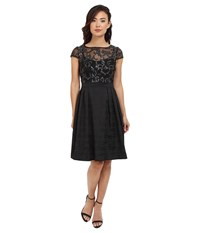 Adrianna Papell Baroque Sequin Illusion Fit And Flare Black Silver Women's Dress