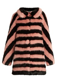 Shrimps Jean Striped Faux Fur Coat Pink Multi