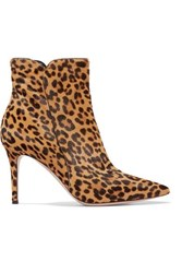 Gianvito Rossi Levy 85 Leopard Print Calf Hair Ankle Boots Leopard Print