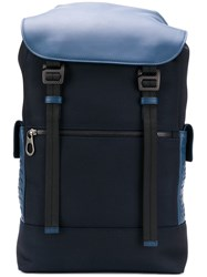 Bottega Veneta Hi Tech Canvas Backpack Blue