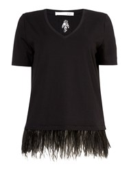 Oui Feather Trim T Shirt Black