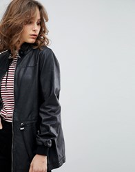 Selected Femme Leather Jacket With Toggles Black