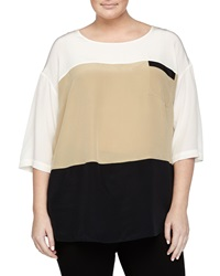 Go Silk Short Sleeve Colorblock Silk Blouse Cream Tan Black