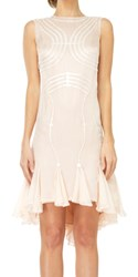 Leon Max Sleeveless Mesh Silk Chiffon Dress With Pailettes