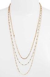 Rebecca Minkoff Layered Mixed Chain Necklace Navy Multi Gold