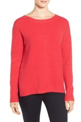 Caslon Back Zip High Low Sweater Red