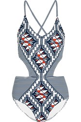 Tory Burch Acoma Cutout Printed Swimsuit Navy White