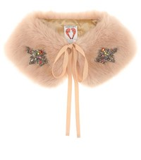 Shrimps Lucy Embellished Faux Fur Collar Pink