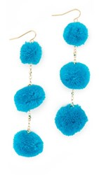 Vanessa Mooney The Dragnet Pom Earrings Blue