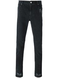 Rta Cross Print Detail Slim Fit Jeans Grey