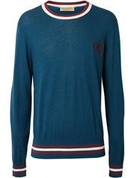 Burberry Embroidered Crest Cotton Silk Sweater Blue