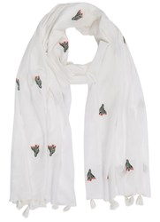 Mint Velvet Embroidered Cactus Scarf White