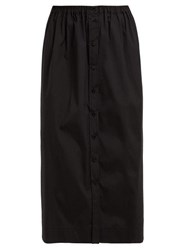 Carolina Herrera High Rise Cotton Blend Poplin Midi Skirt Black