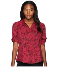 Royal Robbins Expedition Dry Print 3 4 Sleeve Rumba Red Long Sleeve Button Up