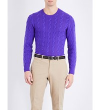 Ralph Lauren Purple Label Cable Knit Cashmere Jumper Classic Violet