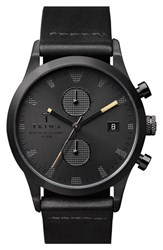 Men's Triwa 'Sort Of Black' Chronograph Leather Strap Watch 38Mm