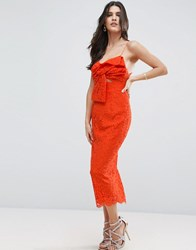 Asos Lace Cami Bow Front Midi Pencil Dress Orange Pink