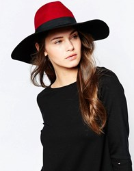 French Connection Colour Block Fedora Hat Black