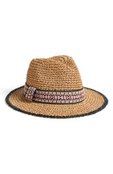 Women's Echo Woven Straw Fedora Black