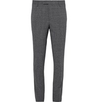 Saint Laurent Grey Slim Fit Prince Of Wales Checked Slub Wool Blend Suit Trousers Black