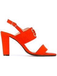 Tila March Ravello Sling Back Sandals Women Leather Goat Suede 37 Red