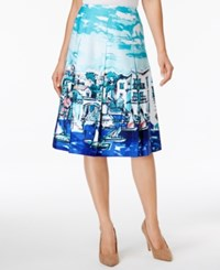 Charter Club Cotton Print Skirt Only At Macy's Modern Blue Combo