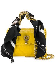 Ermanno Scervino Mini Scarf Embellished Bag Yellow And Orange