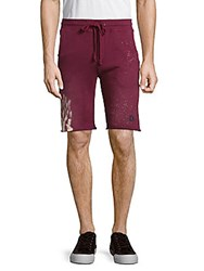 Cult Of Individuality Cotton Drawstring Waist Shorts Burgundy