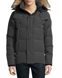 Canada Goose Wyndam Down Parka With Fur Trim Hood Graphite