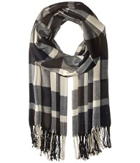 Plush Ultra Soft Fleece Plaid Scarf Navy Charcoal White Scarves Black
