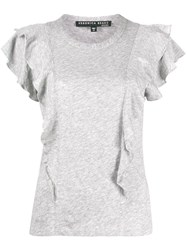 Veronica Beard Ruffle Sleeve T Shirt Grey