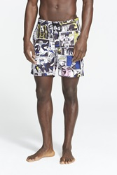 Marc By Marc Jacobs Comic Print Board Shorts Wicken White Multi