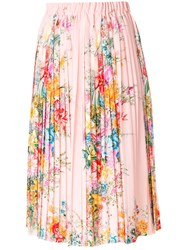 N 21 No21 Floral Print Pleated Skirt Women Silk Satin 38 Pink Purple