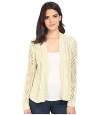 Brigitte Bailey Fringe Back Open Cardigan Winter White Women's Sweater
