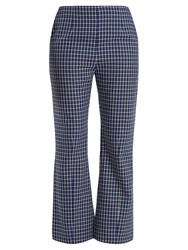 Marni Checked Kick Flared Wool Trousers Blue Multi