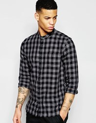Pull And Bear Pullandbear Check Shirt In Grey With Grandad Collar Black
