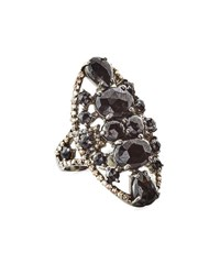 Bavna Black Spinel And Champagne Diamond Oval Cocktail Ring Size 7